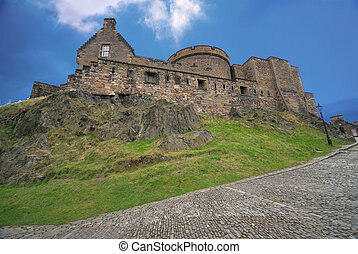Edinburgh Castle, view from the cobbled road