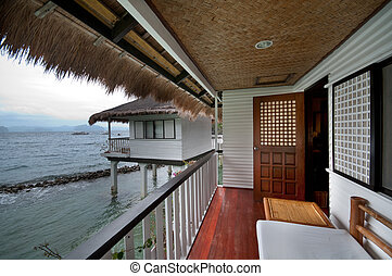 Seaside resort villa - On the balcony of a tropical seaside...