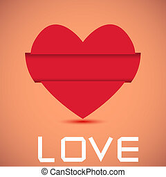 Concept origami heart with place for your text. Vector background. Best choice