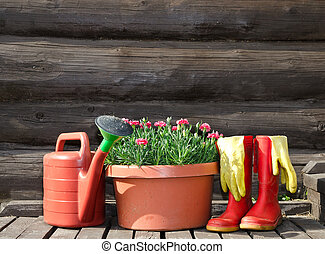 Garden tools horizontal image - Garden tools flower pot,...