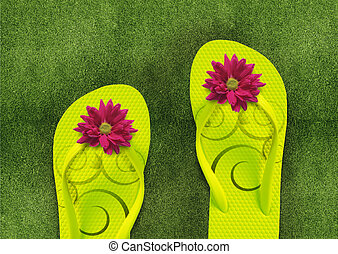 Colorful Flip Flops on green grass, summertime