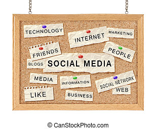 Social with networking concept words on corkboard isolated...