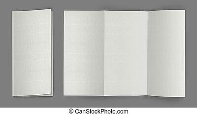 em branco, dobrar, voador, folheto