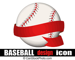 Baseball ball with a ribbon on white background, vector...