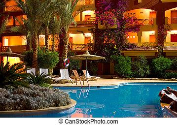 """Hotel """"Sun & Sea"""" in Hurgada, Egypt, night shot"""