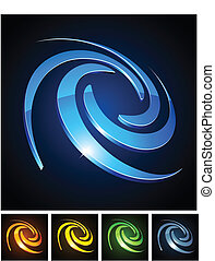 Color vibrant emblems - Vector illustration of swirl shiny...