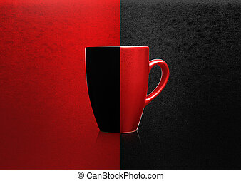 Two colors mug on red and black background,