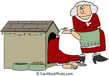 Santa In The Dog House - This illustration depicts Santa in...