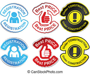 """Set of color labels. - .""""Registration"""", """"best price"""", """"under..."""