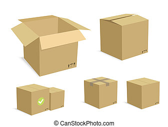 Carton Boxes Set - Cardboard Carton Vector Illustration Set