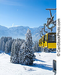 Skiing slope - Slope on the skiing resort Braunwald...