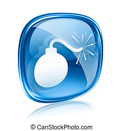 bomb icon blue glass, isolated on white background.