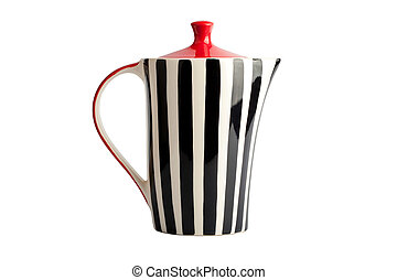 Striped teapot isolated on white background