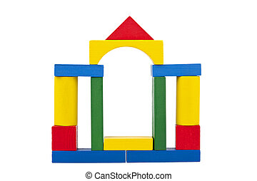 Castle made from wooden toy blocks