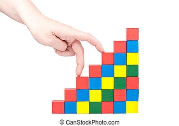 Hand climbing upstairs - Female hand climbing upstairs which...