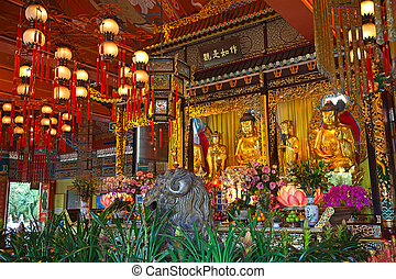 Po Lin monastery - Interior of the Po Lin monastery on...