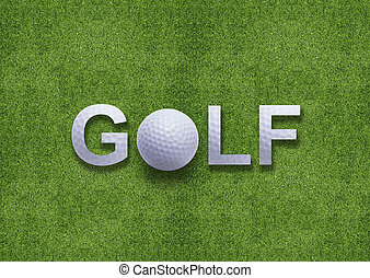 Golf word created from golf ball and golf ball instead of O...