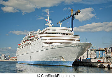 Cruise Liner in the Dockyard - A Cruise Liner docked up in a...