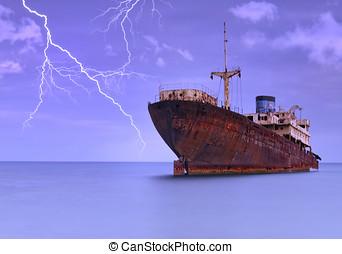 barco, debajo, Tormenta