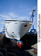 Drydock Cruise Liner - A Cruise Liner parked up in a drydock...