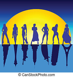 girls and famous buildings vector illustration - girls and...
