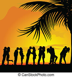 couples kissing under palm trees vector silhouette