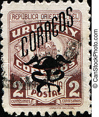 Coat of arms of Uruguay - URUGUAY - CIRCA 1946: A stamp...