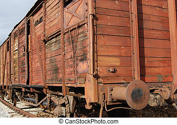 Old freight railway wagon,wooden sides