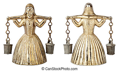 Vintage brass bell shape of a woman with a yoke - Front an...
