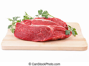 isolated raw piece of beef