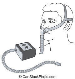 Sleep Apnea, CPAP, Nose Pillow Mask - CPAP machine with...