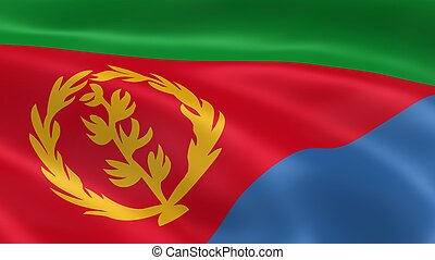 Eritrean flag in the wind. Part of a series.