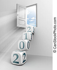 2012 cube ladder and door conceptual image for the new year