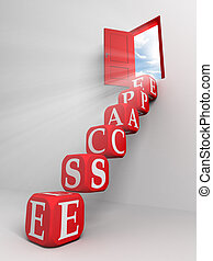 escape conceptual red door and box ladder in white room