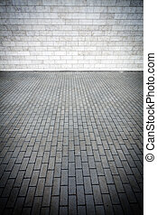 Wall and pavement - Grey tile wall and pavement