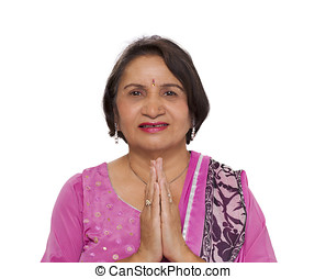 Mature indian woman namaste greeting - Portrait of a mature...