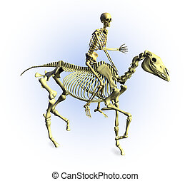 Skeleton Rider - 3D render of a human skeleton riding a...