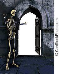 esqueleto, portão
