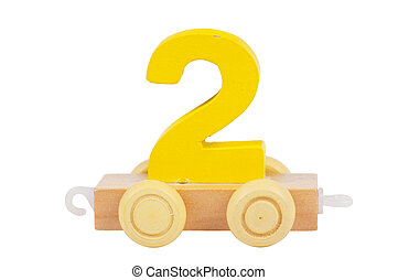 Wooden toy number 2 - Wooden toy on a wheels number 2...