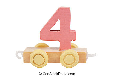 Wooden toy number 4 - Wooden toy on a wheels number 4...