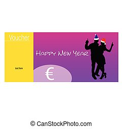 voucher with couple silhouette and hat for new year