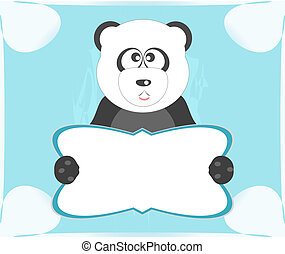 Panda with blank sheet for your own text white background