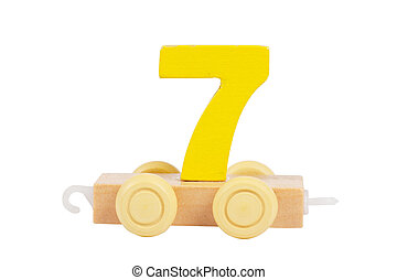 Wooden toy number 7 - Wooden toy on a wheels number 7...