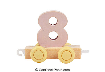 Wooden toy number 8 - Wooden toy on a wheels number 8...