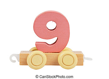 Wooden toy number 9 - Wooden toy on a wheels number 9...