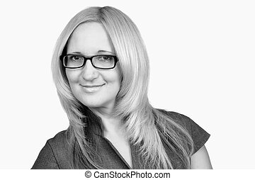 Successful business woman with glasses, studio shot