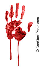 bloody handprint - bloody print of a hand and fingers