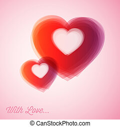 Vector red hearts - Valentines card - Overlapping Vector red...