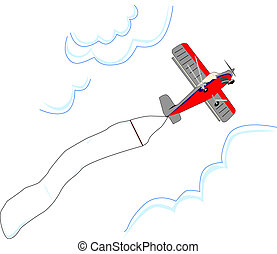 Small airplane flies with blank adv - Small red and grey...