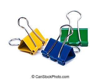 Color paper clips on white background.